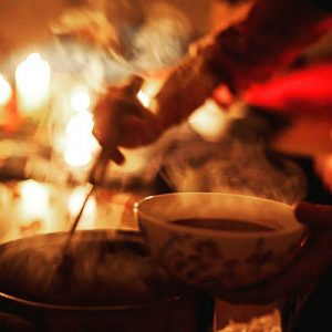 steaming hot ceremonial cacao