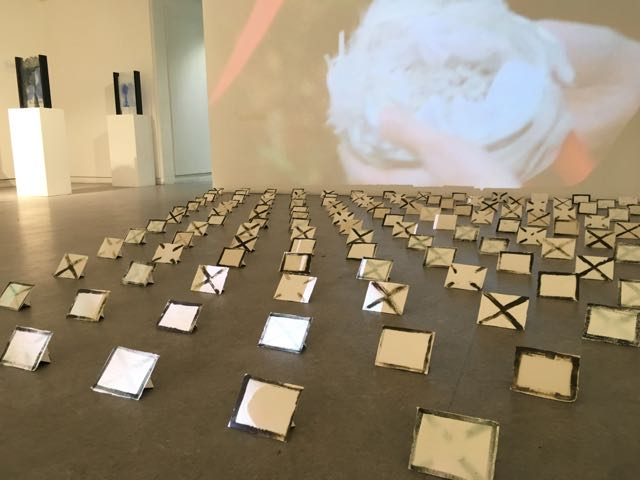 Every day for a year exhibition at F Block Gallery Bristol featuring film she wonders/wanders and 186 porcelain envelopes