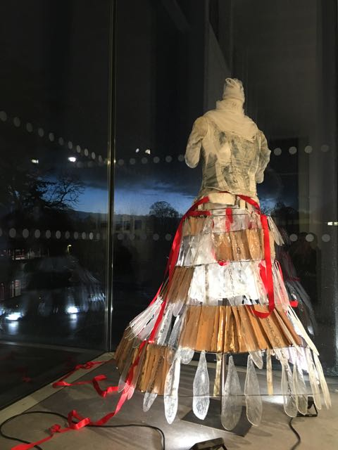 glass dress, cast glass swan's feathers, enamelled metal on a flexible glass fibre rod frame, with corset, embodied grief