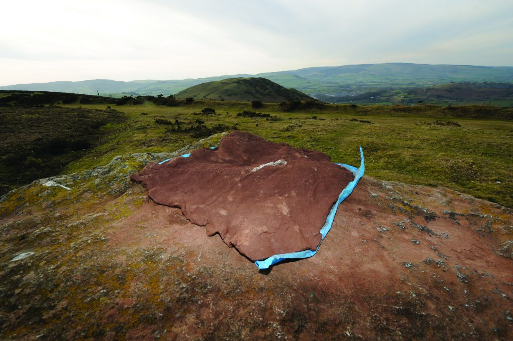 Clay impression of the whetstone on Hergest Ridge