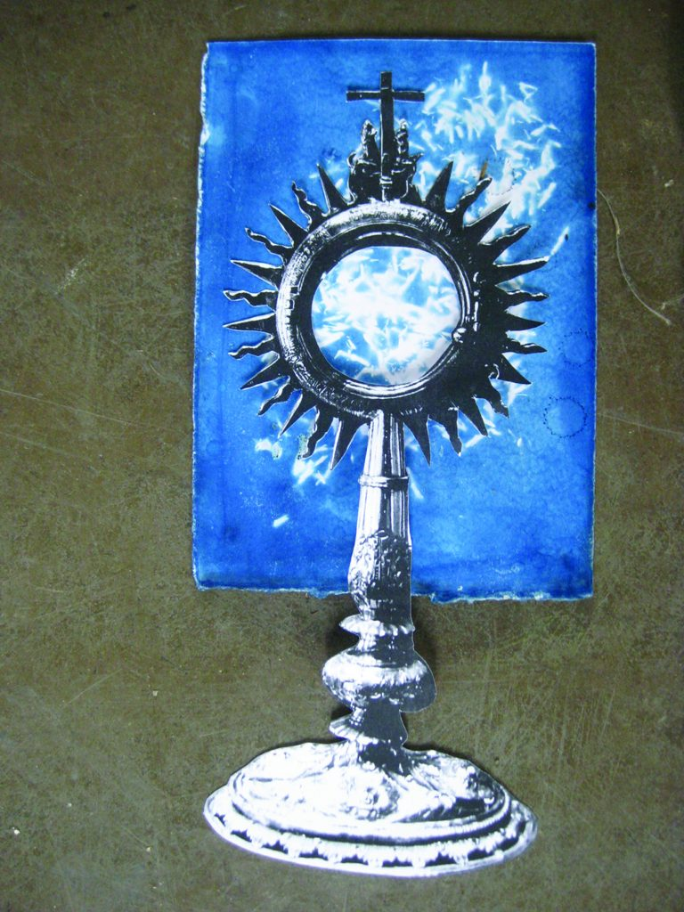 Davina Kirkpatrick's Cyanotype of sunflower seeds with monstrance, from residency at CAKE kildare, Ireland