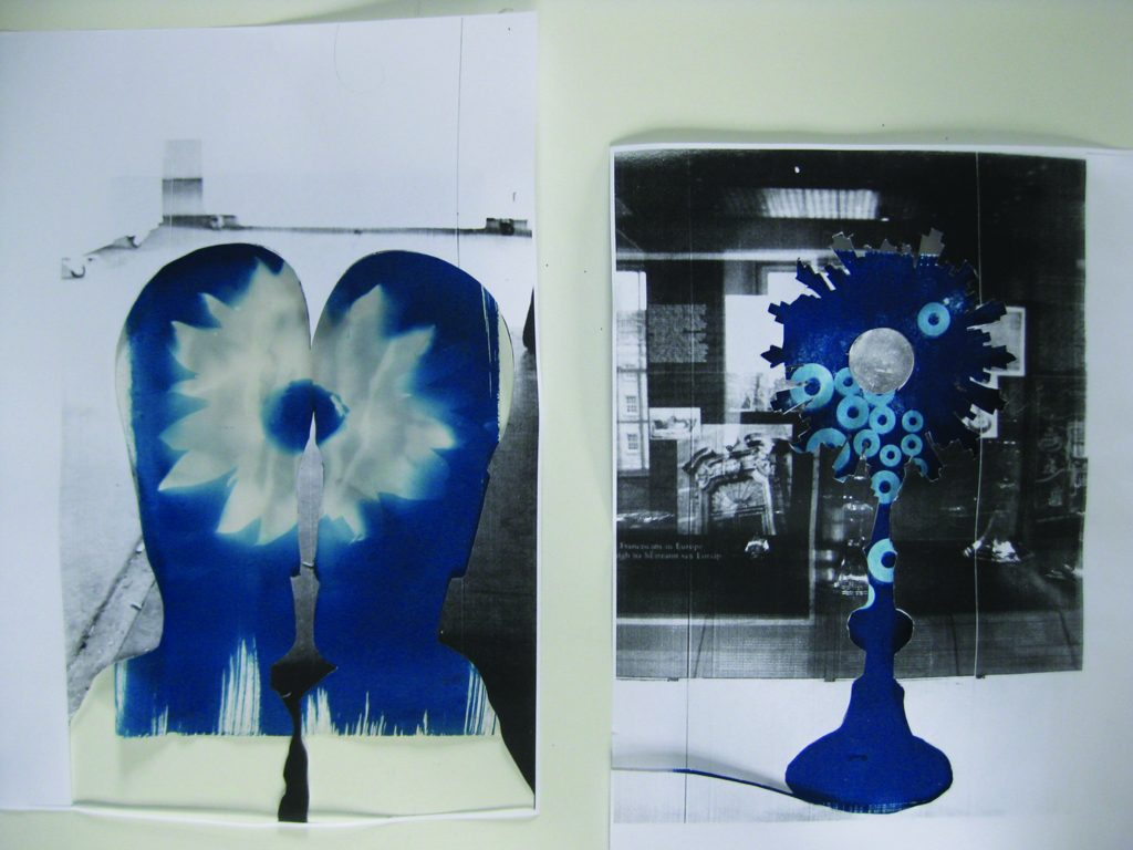 Davina Kirkpatrick's Cyanotype of sunflower with monstrance and my feet in his slippers, from residency at CAKE kildare, Ireland