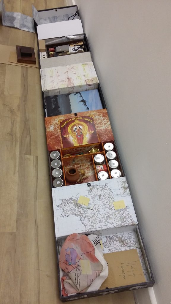 pilgrimage boxes containing artefacts and memories of pilgrimages undertaken