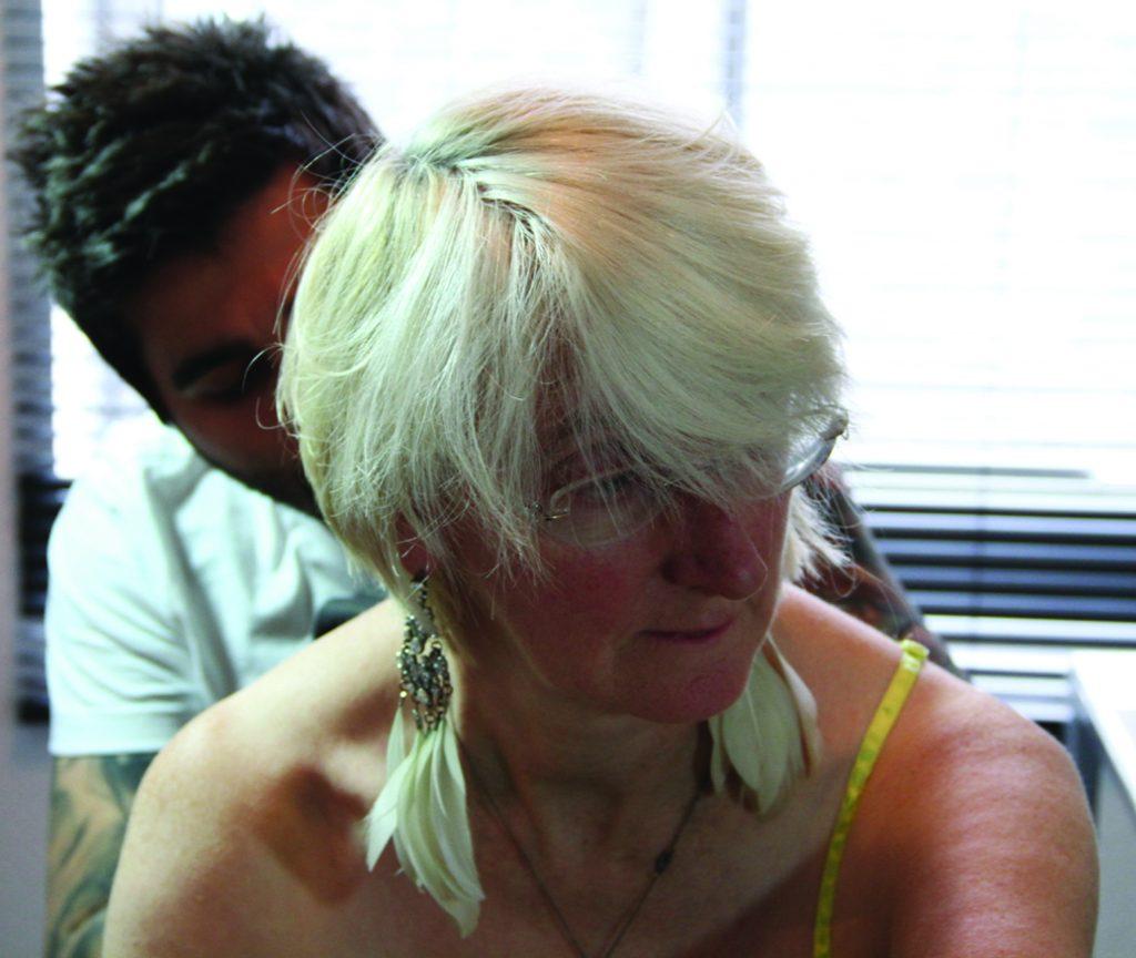 Davina Kirkpatrick being tattooed by Radu Rusu