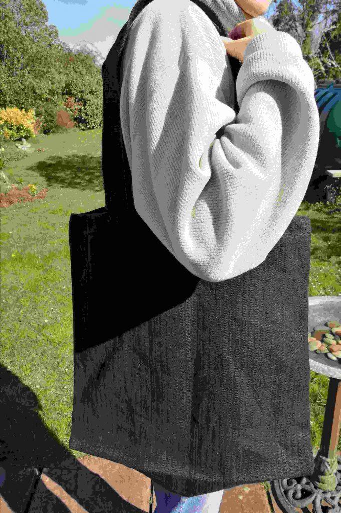 large black hemp tote bag