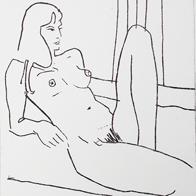 square cropped image of a black ans white print by Nina Packer, the image is of a reclining nude woman and is in simple black lines on white background