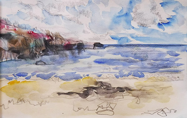 Sunny September Day at Porthluney, a sketchbook watercolour drawing by Nina Packer; the format is landscape, looking across yellow sands and blue sea, with a headland to the left, the brushstrokes are loose and pencil marks show through, there are white clouds racing over the sky, and the bracken on the headland is bright red.