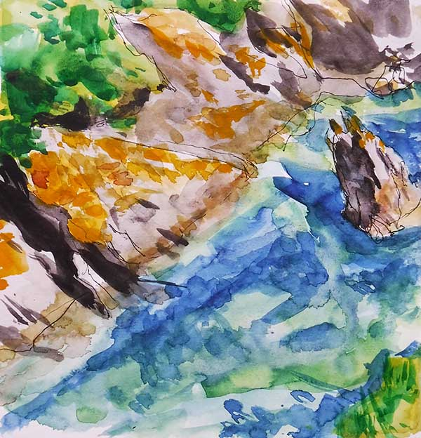 A square watercolour sketchbook drawing of the Cornish cove of Portloe, by Nina Packer; the viewer looks down from the coast path onto the rocks and water in the cove, the sea is greena dn blue and the rocks have patches of yellow lichen across them, the sea sparkles, the colours are bright.