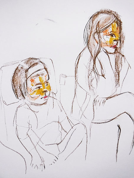 A portrait format drawing in charcoal and pastel on paper of two children with tiger facepaint, by Nina Packer. The figures are charcoal line drawings, the faces are the only colour, they are sitting in chairs with faces turned looking towards the right to a TV out of sight of the viewer, which s playing Tom & Jerry cartoons.