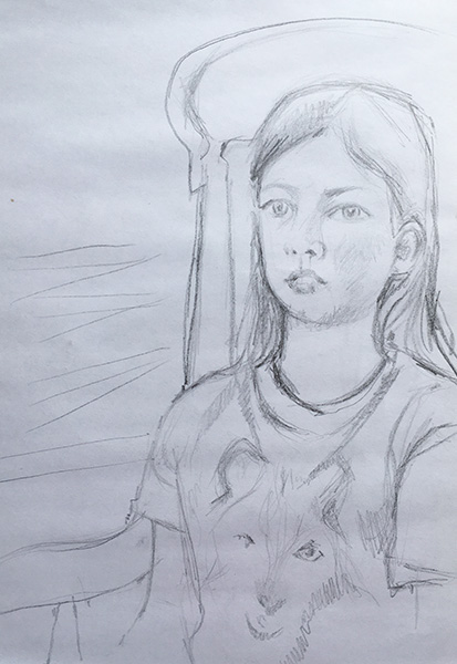 A portrait format pencil drawing of the artists daughter, she is sat in a wooden arm chair looking out from the page and wearing wolf t-shirt.