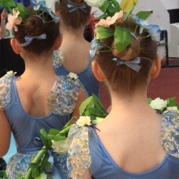 Three children shown from behind in ballet costume
