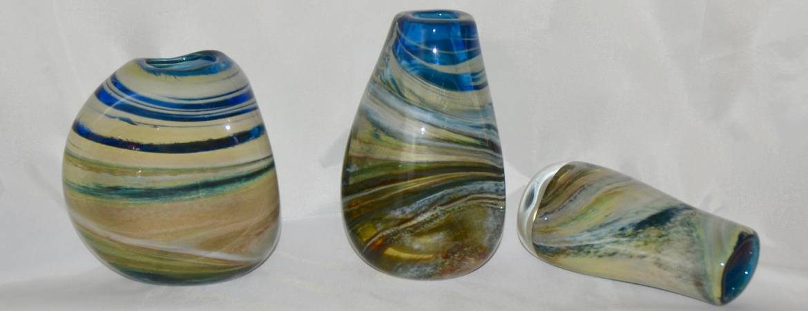 """Three """"Storm Cloud"""" vases by Siddy Langley in blues and creams and greys"""