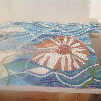 A wash stand with a mosaic of a nautilus designed and made by Siddy Langley